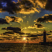 Winter Sunset At Muskegon Channel Light Poster