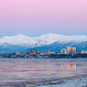 Winter Sunset Over Anchorage, Alaska Poster