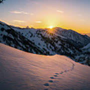 Winter Sunset Over Little Cottonwood Canyon Poster