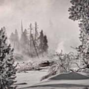 Winter Thermal Steam - Yellowstone Poster