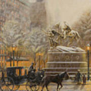Winter Twilight At Grand Army Plaza Poster