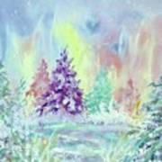 Winter Wonderland Aurora Borealis  Poster
