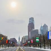 Wintertime - Benjamin Franklin Parkway Poster