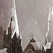 Wintry Church Poster by AlyZen Moonshadow