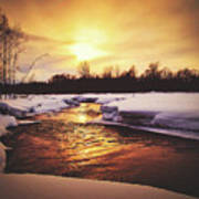 Wintry Sunset Reflections Poster