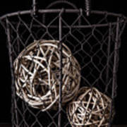 Wire Basket And Balls Still Life Poster