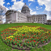 Wisconsin Capitol And Tulips Poster