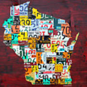 Wisconsin Counties Vintage Recycled License Plate Map Art On Red Barn Wood Poster