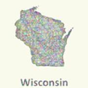 Wisconsin Line Art Map Poster