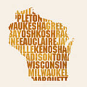 Wisconsin State Outline Word Map Poster