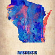 Wisconsin Watercolor Map Poster by Naxart Studio