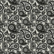 Wolf Gray Paisley Design Poster