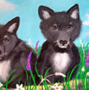 Wolf Pups Poster by Nick Gustafson