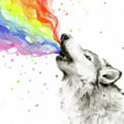 Wolf Rainbow Watercolor Poster