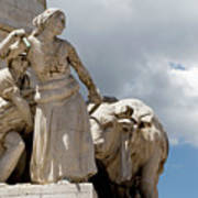 Woman And Bull, Marquis De Pombal Monument Poster