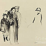 Woman And Two Children With German Soldiers Poster