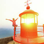 Woman At Nazare Lighthouse Poster