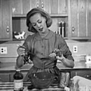 Woman Baking In Kitchen, C.1960s Poster