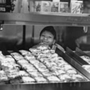 Woman Behind Fast Food Counter Poster