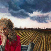 Woman By A Plowed Field Poster