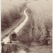 Woman Doing Laundry In Canal- Sepia Poster