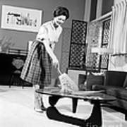 Woman Dusting, C.1950-60s Poster