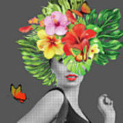 Woman Floral  Poster