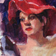 Woman In A Floppy Red Hat Poster