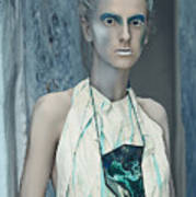 Woman In Ash And Blue Body Paint Poster