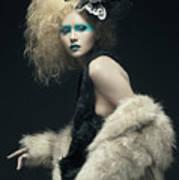 Woman In Black Avant-garde Attire With Butterfly Headdress Poster