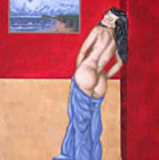 Woman In Blue Robe Poster