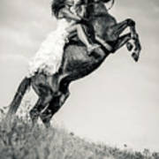 Woman In Dress Riding Chestnut Black Rearing Stallion Poster