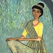 Woman In Grey And Yellow Sari Under Tree Poster
