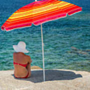 Woman In Red Bikini And White Hat Under Parasol Looking Out To S Poster