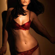 Woman In Red Lingerie Poster