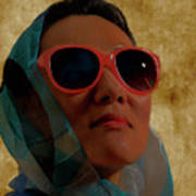 Woman In Scarf And Sunglasses Poster