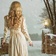 Woman In Winter Scene Poster