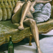 Woman On Green Sofa Poster