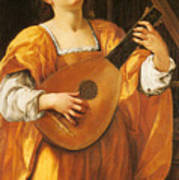 Woman Playing A Lute Poster
