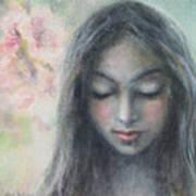 Woman Praying Meditation Painting Print Poster