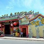 Woman Sits Outside Chinese Temple With Urn And Deity Statues Pattani Thailand Poster