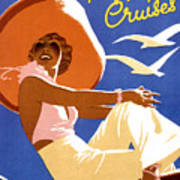 Woman Sitting On A Cruising Ship Poster