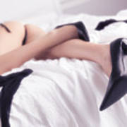 Woman Sleeping In Bed Half Naked Poster