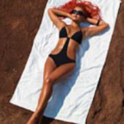 Woman Sunbathing Poster