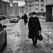 Woman Walking On Path In Russia Poster