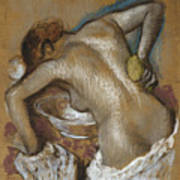 Woman Washing Her Back With A Sponge Poster by Edgar Degas