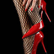 Woman Wearing Red Sexy High Heels Poster