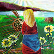 Woman Weaves A Basket By The Lake At Sunset Poster