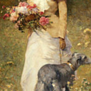 Woman With A Dog Poster