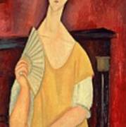 Woman With A Fan Poster by Amedeo Modigliani